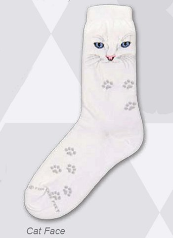 White Cat Face Socks from Critter Socks
